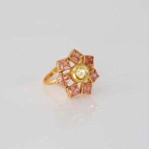 Gold plated Kundan style ring