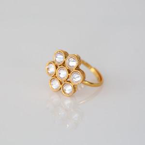 Gold Plated Kundan Polki Wedding New Adjustable Finger Ring