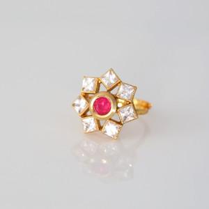 Handmade adjustable Kundan Polki finger Ring.