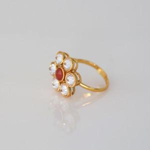 Kundan Polki Cocktail Bollywood Bridal Free Size Finger Ring.