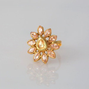 Beautiful Stone Flower design finger ring.