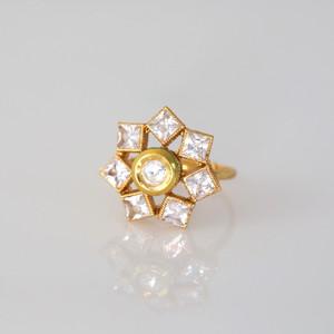 Clear stone beautiful sparkling Kundan Ring.