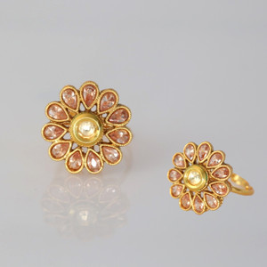 Gold tone Indian Women Wedding CZ Stone  Designer Ethnic Kundan Ring Jewelry