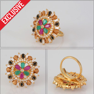 One gram Gold Ring | Intricate Floral designs with multi color stones.