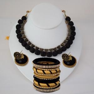 Stylish Silk thread Black Necklace set with Bangles.