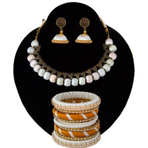 Traditional Party Wear Indian Silk Thread Jewelry Set Antique Choker Necklace and Matching Jhumka Combo in White Color