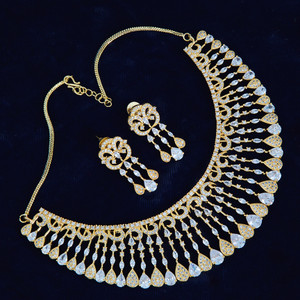 Gold Polish American Diamond Choker Necklace with matching earrings