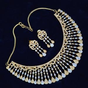 American Diamond CZ Gold Plated Designer Choker Jewellery Set