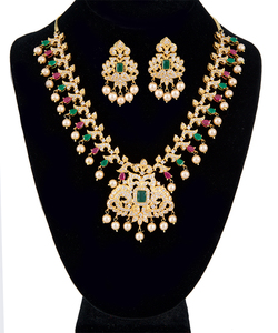 AD Ruby, Emerald Gold Plated Cubic Zirconia