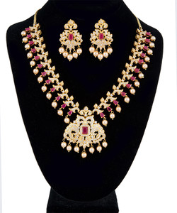 Stunning AD Ruby Gold Plated Cubic Zirconia Bridal