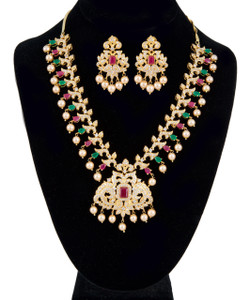 Stunning AD Ruby Gold Plated Cubic Zirconia Bridal Indian Jewelry