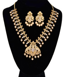 Stunning AD white Gold Plated Cubic Zirconia Bridal Indian Jewelry