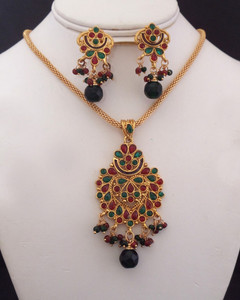 Antique Gold plated necklace with pendant embedded with green and red stones-14ATQP