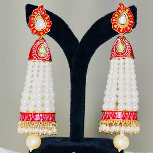 Long Jhumka Gold plated CZ Meena Enamel work Kundan stone Pearl beaded traditional dangling earrings(Red)