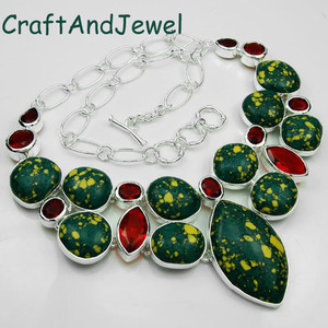 925 Silver Fashion mosaic jasper and red quartz necklace Jewelry