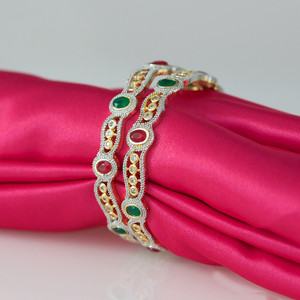 Traditional Ethnic Fusion Ruby,Emerald CZ Gold Plated AD Bangles for Women and Girls