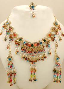 Multi colored and clear cubic zirconia necklace with dangling multi seedbeads and clear round beads