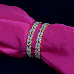 Indian Bangles - Beautiful Set of 2 Gold Plated AD Stone Bangles