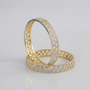 Indian Bangles - Beautiful Set of 2 Clear CZ Designer Gold Plated AD Stone Bangles - Fashion Bangles