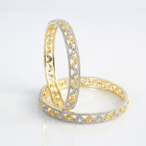 Indian Bangles - Stunning Set of 2 Clear CZ Designer Gold Plated AD Stone Bangles - Fashion Bangles