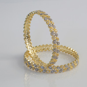 Indian Bangles - Stunning Set of 2 Clear CZ Pear shaped Designer Gold Plated AD Stone Bangles - Fashion Bangles