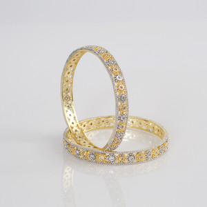 Indian Bangles - Stunning Set of 2 Gold Plated AD Stone Bangles unique jewelry - Fashion Bangles
