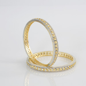 Indian Bangles - Stunning Set of 2 Gold Plated AD Stone Bangles exclusive jewelry - Fashion Bangles