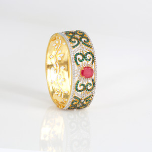 Indian Bangles -Gold Plated Bracelet Bangle Emerald and clear Rhinestone Women's Hinge Clasp