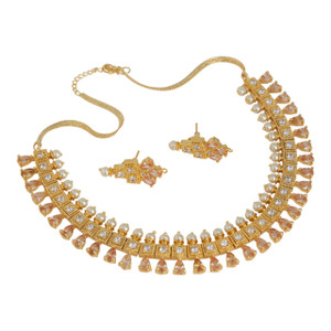 Fashion Bollywood Indian Beautiful Topaz stones with pearls necklace set