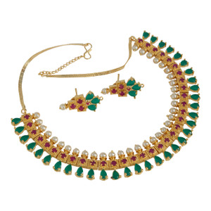 Fashion Bollywood Indian Beautiful emerald stones with pearls necklace set