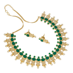 Gold plated traditional Bridal Jewelry emerald stones with Pearls necklace set