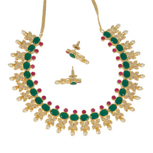 Gold plated traditional Bridal Jewelry emerald,Ruby stones with Pearls necklace set