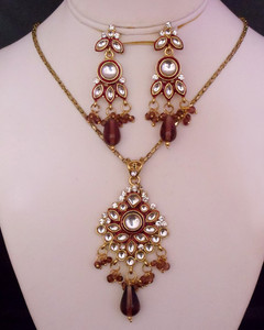 Gold plated kundan necklace set with white stones-KDNJ20