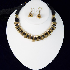 Black silk thread necklace and earrings jewelry set Handmade Indian Jewelry