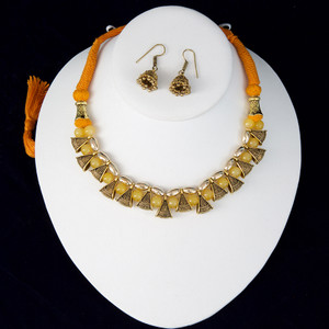 Mango Yellow silk thread necklace and earrings set handmade Indian Jewelry