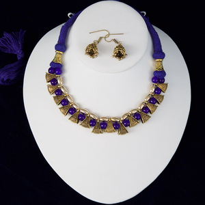 Navy Blue silk thread necklace and earrings set handmade Indian Jewelry