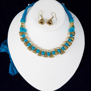 Aqua Blue silk thread necklace and earrings set handmade Indian Jewelry