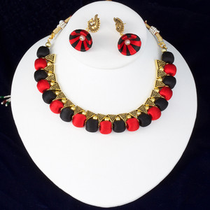 Red & Black Color Silk Thread Jewelry