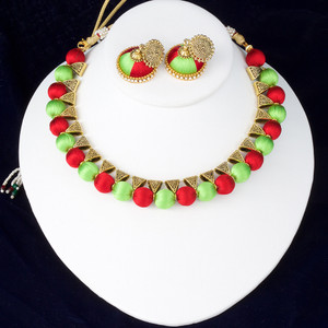Red and Fluro Green Color Silk Thread Jewelry