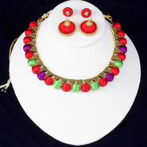 Red,Parrot Green and Purple Color Silk Thread Jewelry