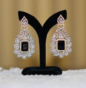Women's Black CZ stone Long crystal Earrings.