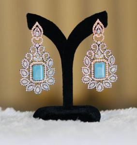 Elegant Design Sky Blue stone Crystal Earrings.