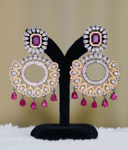 Vintage Ethnic Round Glass Crystal Antique Gold Clear Rhinestone and Ruby Red Long Drop Dangle Earrings For Women