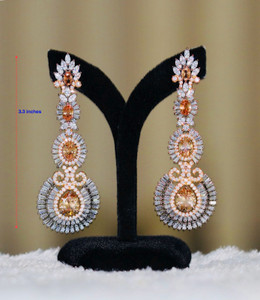 White Glass Rhinestone earrings Women's Fashion Ancient Gold Color with pears shaped Topaz stones