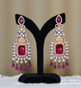 Ruby red stone earrings