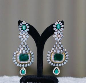 Octagon cut emerald earrings