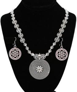 Oxidized german silver necklace floral