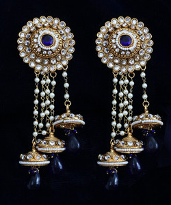 Sapphire Blue stones jhumka earrings