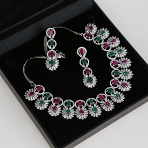 Black Gold style High quality CZ AD necklace withRuby & Emerald stones