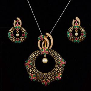 Ruby Emerald stones studded menacer work necklace